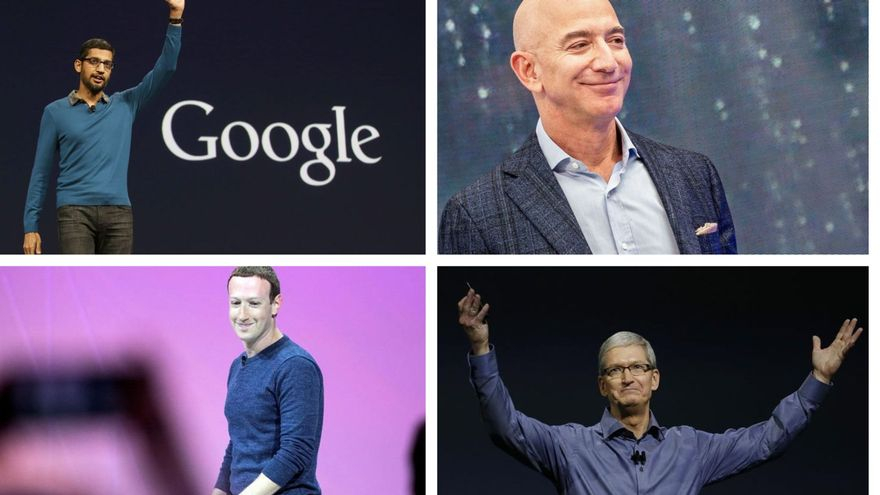Sundar Pichai, Jeff Bezos, Mark Zuckerberg y Tim Cook